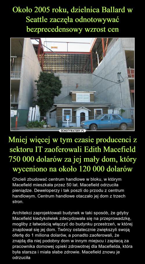 Około 2005 roku, dzielnica Ballard w Seattle zaczęła odnotowywać bezprecedensowy wzrost cen Mniej więcej w tym czasie producenci z sektoru IT zaoferowali Edith Macefield 750 000 dolarów za jej mały dom, który wyceniono na około 120 000 dolarów