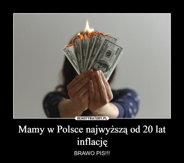 Mamy w Polsce najwyższą od 20 lat inflację – BRAWO PIS!!!