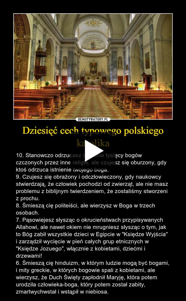 """Dziesięć cech typowego polskiego katolika – 10. Stanowczo odrzucasz istnienie tysięcy bogów czczonych przez inne religie, ale czujesz się oburzony, gdy ktoś odrzuca istnienie twojego boga.    9. Czujesz się obrażony i odczłowieczony, gdy naukowcy stwierdzają, że człowiek pochodzi od zwierząt, ale nie masz problemu z biblijnym twierdzeniem, że zostaliśmy stworzeni z prochu.    8. Śmieszą cię politeiści, ale wierzysz w Boga w trzech osobach.    7. Pąsowiejesz słysząc o okrucieństwach przypisywanych Allahowi, ale nawet okiem nie mrugniesz słysząc o tym, jak to Bóg zabił wszystkie dzieci w Egipcie w """"Księdze Wyjścia"""" i zarządził wycięcie w pień całych grup etnicznych w """"Księdze Jozuego"""", włącznie z kobietami, dziećmi i drzewami! 6. Śmieszą cię hinduizm, w którym ludzie mogą być bogami, i mity greckie, w których bogowie spali z kobietami, ale wierzysz, że Duch Święty zapłodnił Maryję, która potem urodziła człowieka-boga, który potem został zabity, zmartwychwstał i wstąpił w niebiosa."""