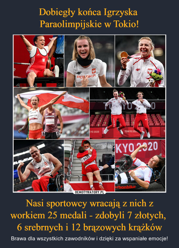Nasi sportowcy wracają z nich z workiem 25 medali - zdobyli 7 złotych, 6 srebrnych i 12 brązowych krążków – Brawa dla wszystkich zawodników i dzięki za wspaniałe emocje!