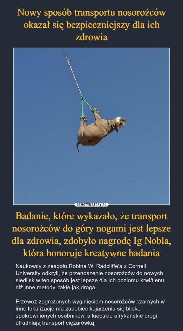 Badanie, które wykazało, że transport nosorożców do góry nogami jest lepsze dla zdrowia, zdobyło nagrodę Ig Nobla, która honoruje kreatywne badania – Naukowcy z zespołu Robina W. Radcliffe'a z Cornell University odkryli, że przenoszenie nosorożców do nowych siedlisk w ten sposób jest lepsze dla ich poziomu krwi/tlenu niż inne metody, takie jak droga.Przewóz zagrożonych wyginięciem nosorożców czarnych w inne lokalizacje ma zapobiec kojarzeniu się blisko spokrewnionych osobników, a kiepskie afrykańskie drogi utrudniają transport ciężarówką