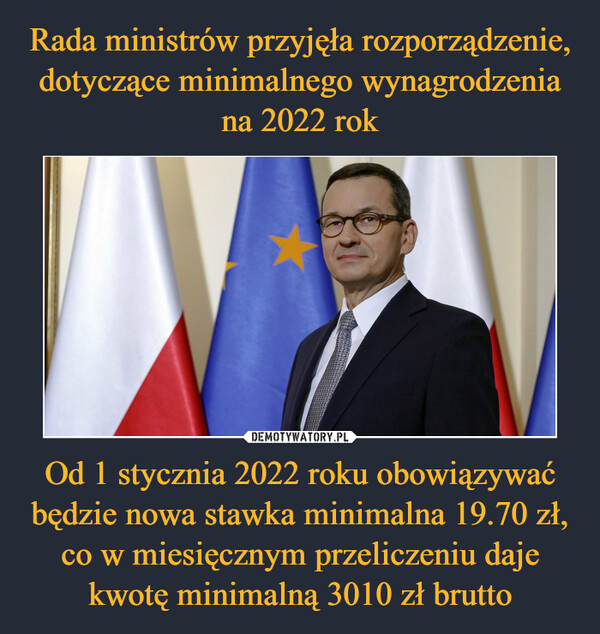 Od 1 stycznia 2022 roku obowiązywać będzie nowa stawka minimalna 19.70 zł, co w miesięcznym przeliczeniu daje kwotę minimalną 3010 zł brutto –