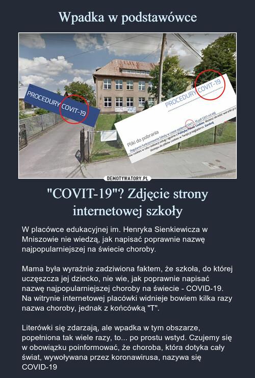 """Wpadka w podstawówce """"COVIT-19""""? Zdjęcie strony internetowej szkoły"""