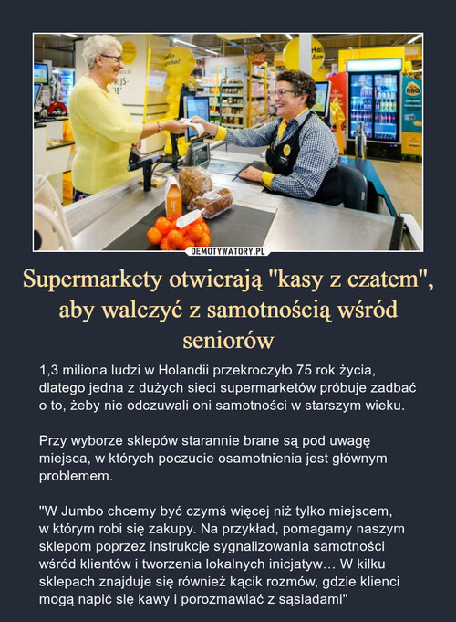 Supermarkety otwierają ''kasy z czatem'', aby walczyć z samotnością wśród seniorów