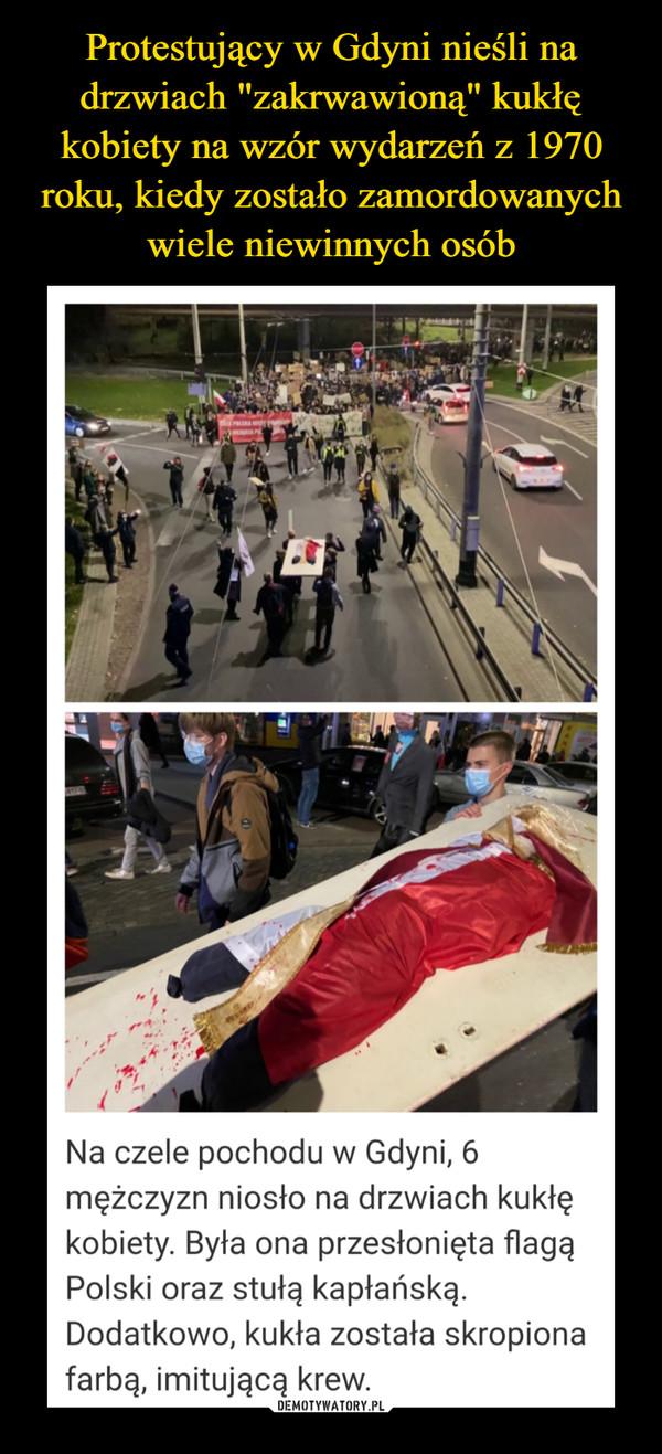 Protestujący w Gdyni nieśli na drzwiach